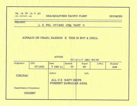 Télégramme annonçant l'attaque de Pearl Harbor , utilisé dans le film Pearl Harbor réalisé par Michael Bay sorti en 2001 .