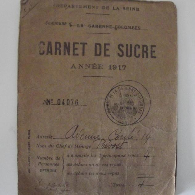 carnet de rationnement de sucre 1917 .jp