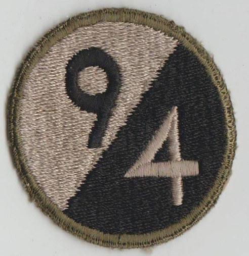 Ecusson de la 94th Infantry Division , 94ème division d'infanterie , modèle approuvé en 1942 .