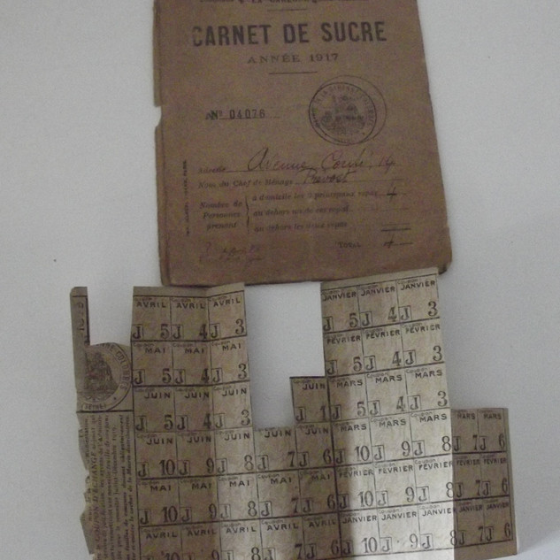 carnet et tickets de rationnement de sucre 1917