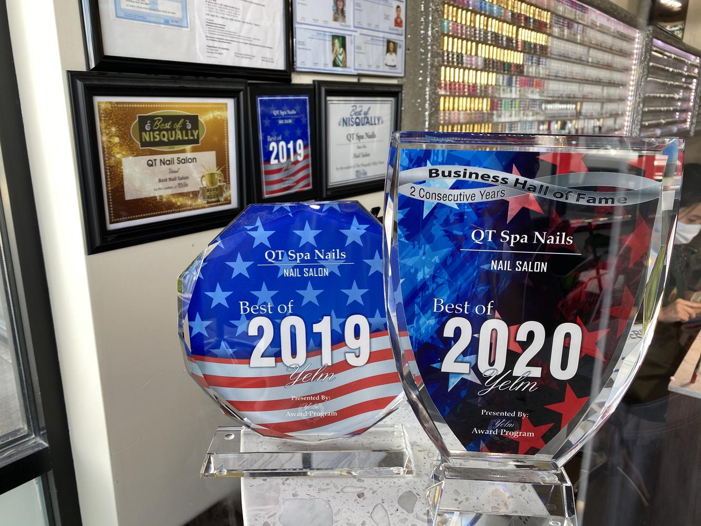 Won Best Nail salon in Yelm 2018, 2019, 2020