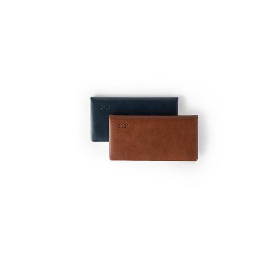 Slim Line (Horizontal) Diary- Premium - Week- at-a-glance- (Tan + Navy Blue)