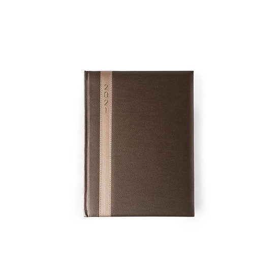 B5 Size One Day to a Page New Year Diary - Saturday/Sunday Separate- Brown