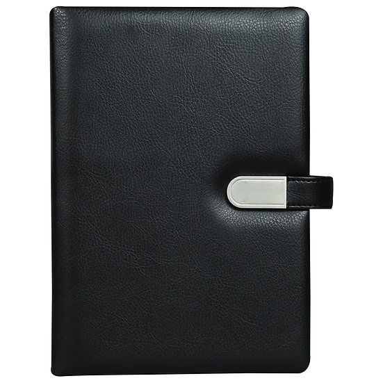 A5 Size Flash Note Book with Magnet Flap (with 16GB Pen Drive)- Black