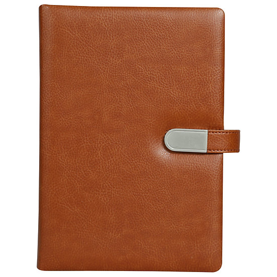 A5 Size Flash Note Book with Magnet Flap (with 16GB Pen Drive)- Tan