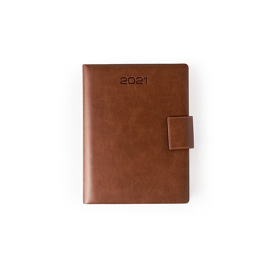 B5 Size - One Day to a Page New Year Diary with Magnet Flap- Tan
