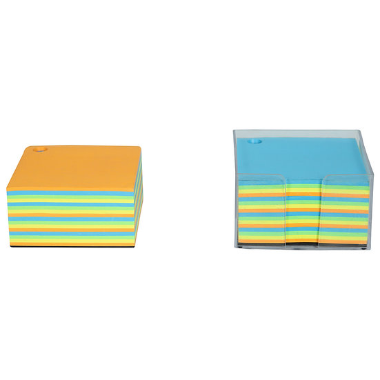 Paper Cube Memo Pad with Acrylic Container + Refill (Assorted Colour Pages)
