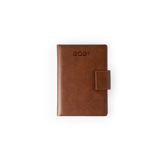 A5 Size - One Day to a Page New Year Diary with Magnet Flap- Tan