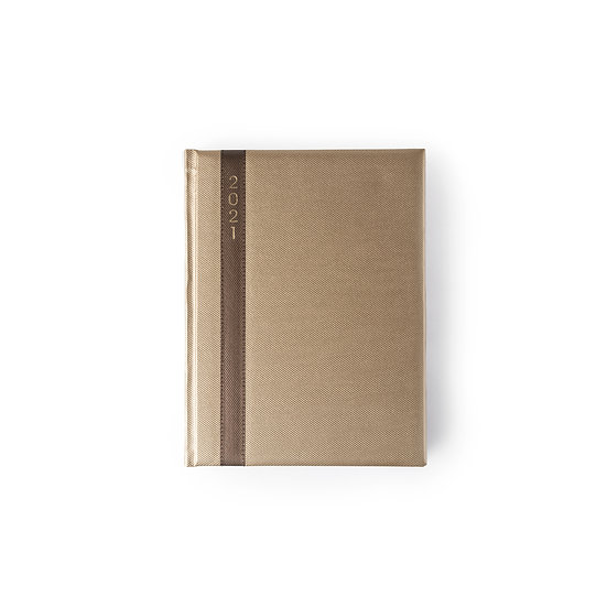 B5 Size One Day to a Page New Year Diary - Saturday/Sunday Separate- Gold