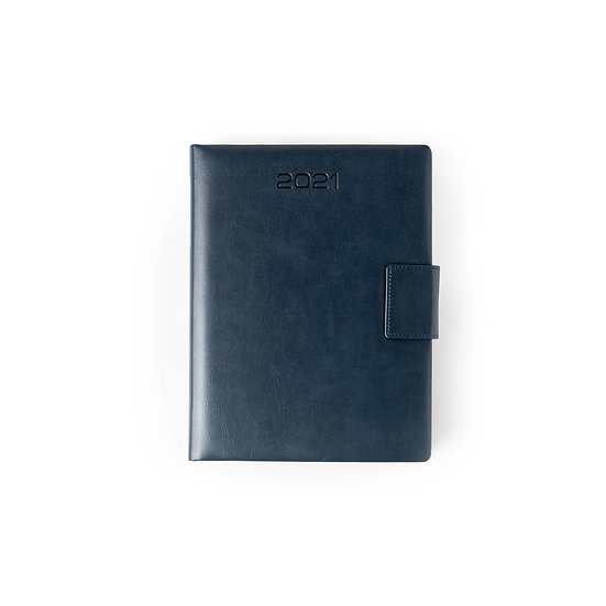 B5 Size - One Day to a Page New Year Diary with Magnet Flap- Blue