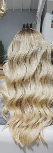 Icy Gold Highlights on Long Waved Hair