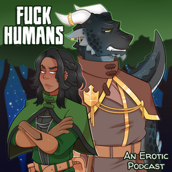 Episode Podcast art with the Fuck Humans title