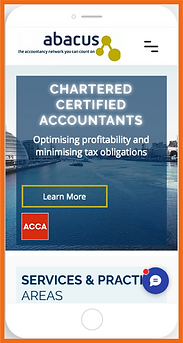 Mobile view of a sample site in UK constructed by 16 Reasons - Abacus Azure Accounting firm