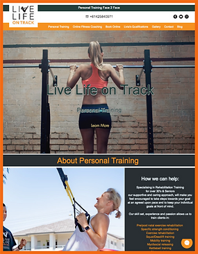 Tablet view of a sample site in Australia constructed by 16 Reasons - Live Life on Track firm