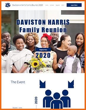 Tablet view of a sample site in USA - Daviston Harris Reunion