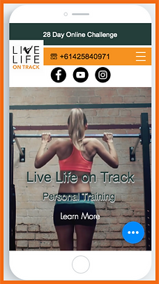 Mobile view of a sample site in Australia  constructed by 16 Reasons - Live Life on Track firm
