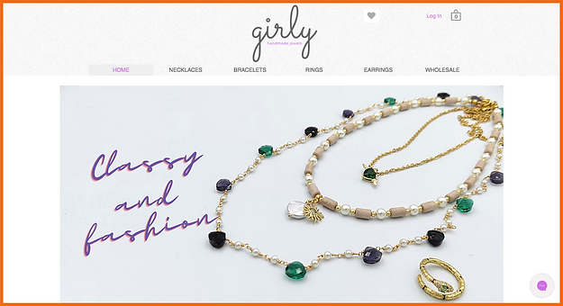 Desktop view of a sample site in Greece constructed by 16 Reasons - Girly Jewellery