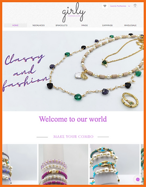 Tablet view of a sample site in Greece constructed by 16 Reasons - Girly Jewellery