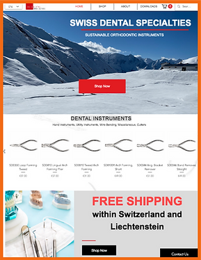 Tablet view of a sample site in Switzerland constructed by 16 Reasons - Swiss Dental Specialties firm