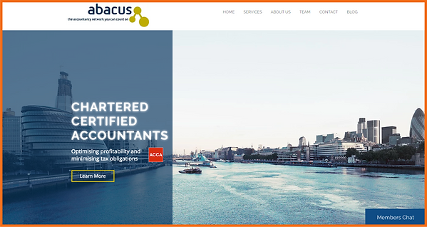 Desktop view of a sample site in UK constructed by 16 Reasons - Abacus Azure Accounting firm