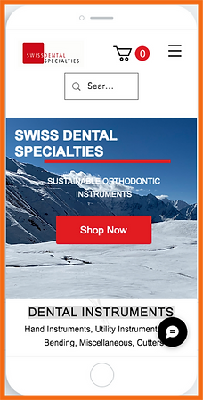 Mobile view of a sample site in Switzerland constructed by 16 Reasons - Swiss Dental Specialties firm