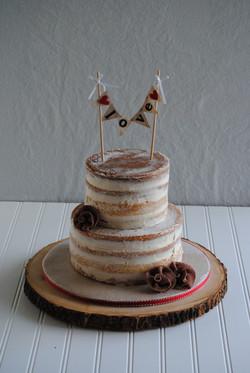 nc wedding cake naked rustic burlap