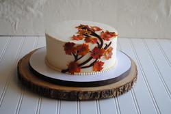 nc wedding cake fall leaves