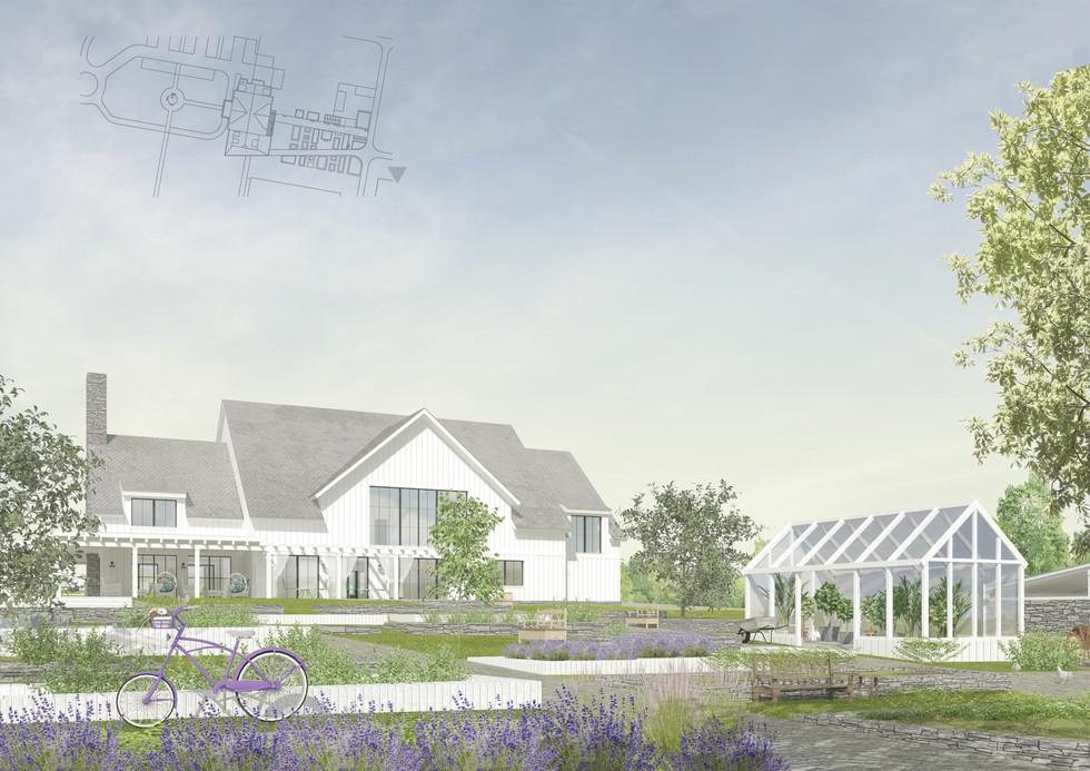 közösségi ház a kert felől