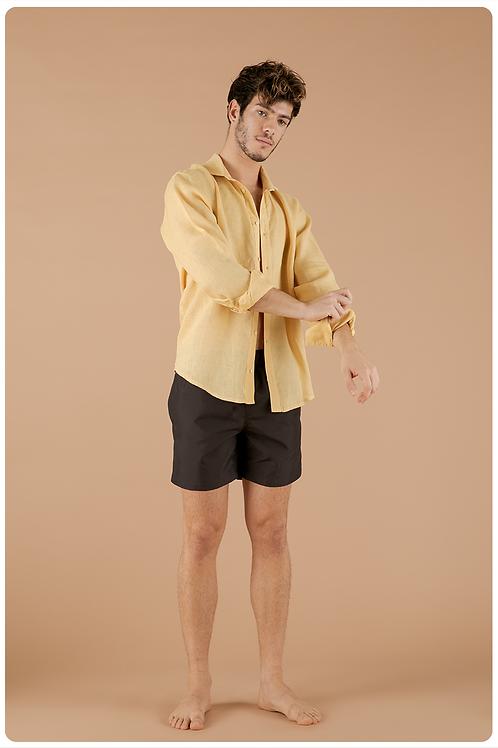 Camicia con collo francese  giallo