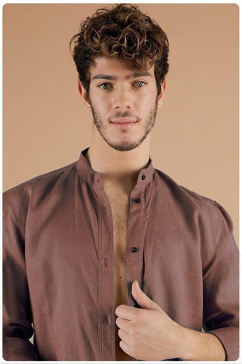 Camicia con collo coreana moka