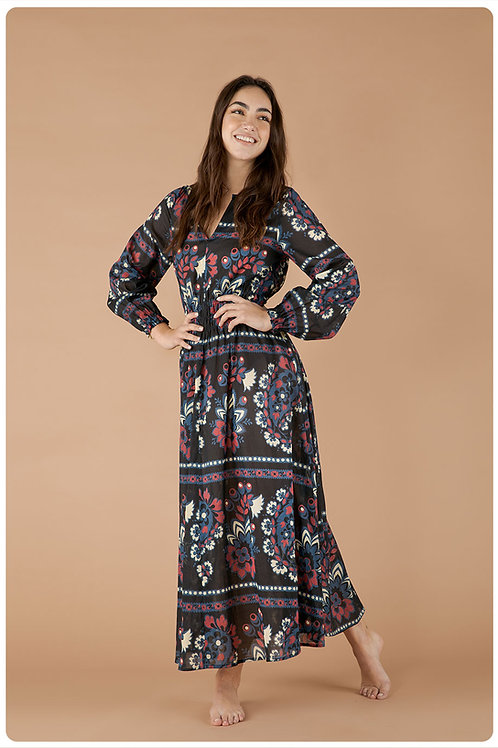 Mandala dress in mussola di cotone stampa mandala blu navy