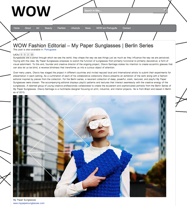 My Paper Sunglasses in WOW Magazine
