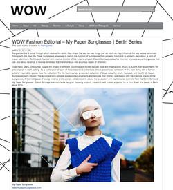 My Paper Sunglasses in WOW Magazine