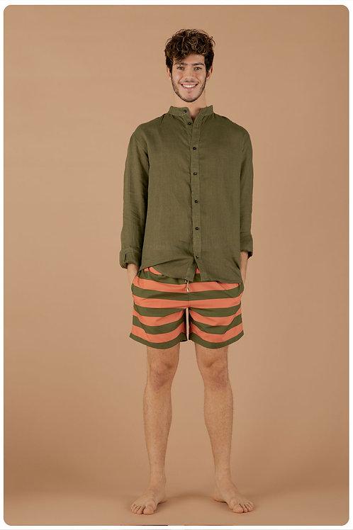 Camicia con collo coreana verde militare