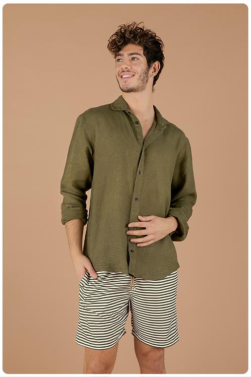 Camicia con collo francese  verde militare