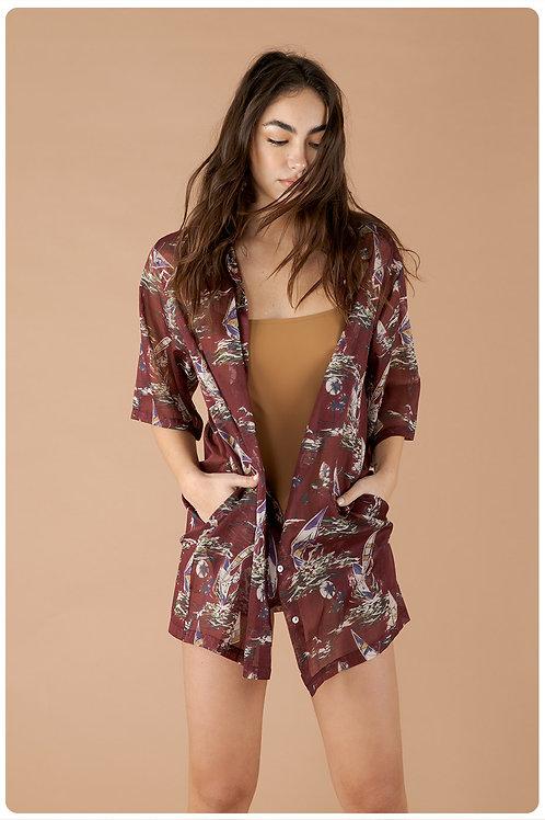 Camicia hawaiana magenta