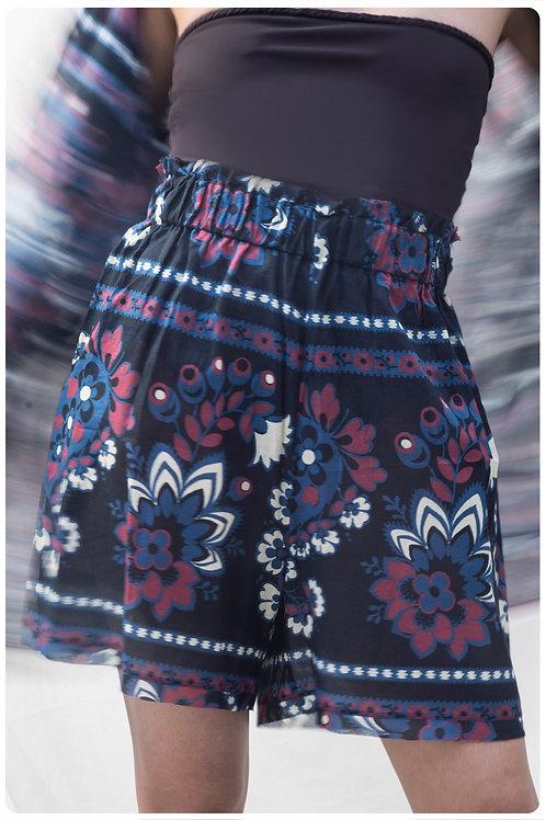Shorts in mussola di cotone stampa mandala blu navy