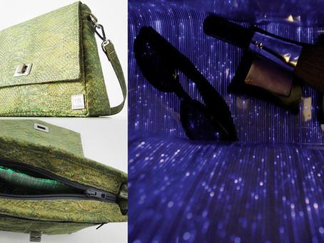 Fabrikk Vela cork handbag features the latest technology in illuminating materials inside
