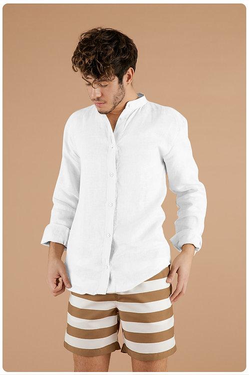Camicia con collo coreana bianco