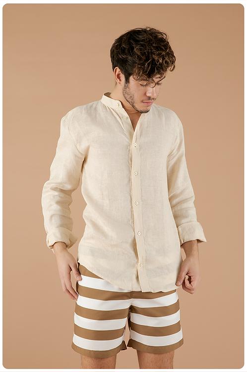 Camicia con collo coreana crema