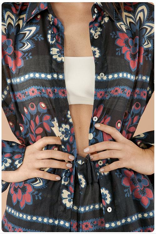 Camicia boyfriend in mussola di cotone stampa mandala blu navy