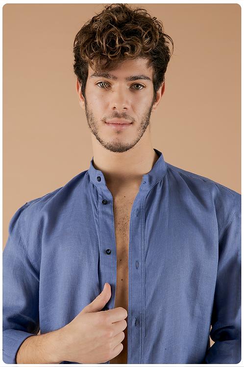 Camicia con collo coreana blu avio