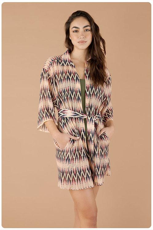 Camicia in creponne di seta e cotone stampa Perù rosa albicocca