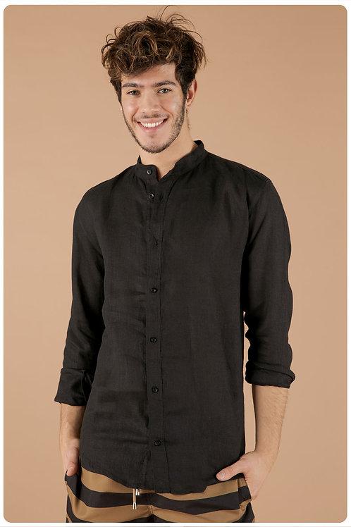 Camicia con collo coreana nero