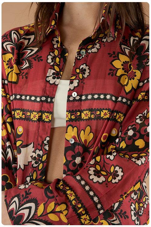 Camicia boyfriend in mussola di cotone stampa mandala terracotta