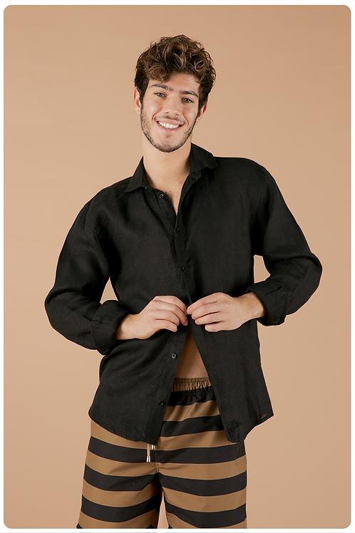 Camicia con collo francese  nero
