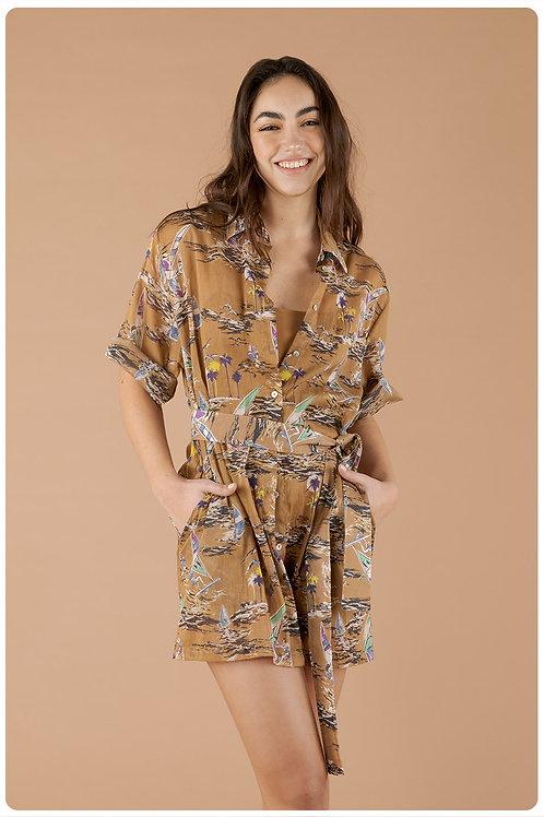 Camicia hawaiana cammello
