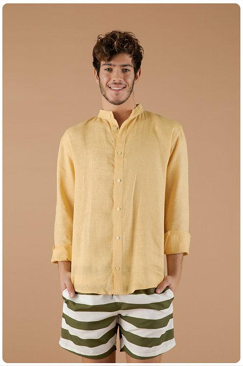 Camicia con collo coreana giallo