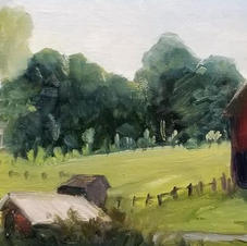 Rutherford's Farm  6x12 oil on linen pan