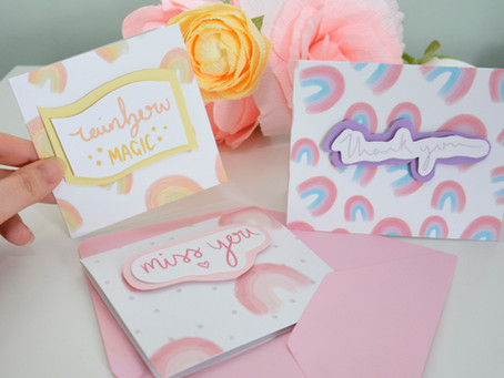 FREE Rainbow papers and sentiments plus 2 card tutorials!